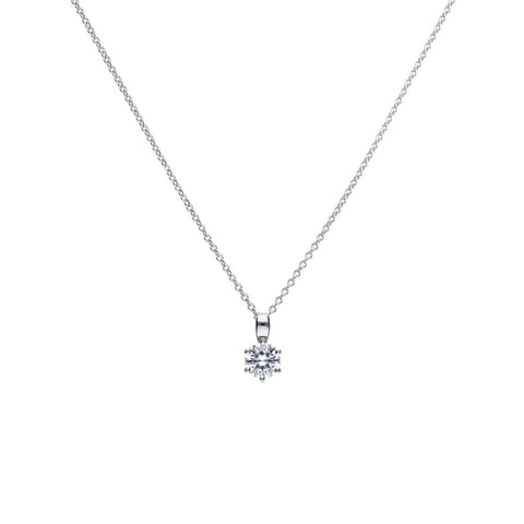 Cubic zirconia solitaire pendant and chain in silver