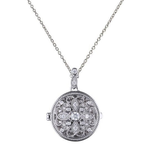 Cubic zirconia floral design locket and pendant in silver