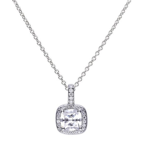 Cubic zirconia cushion shape halo cluster pendant and chain