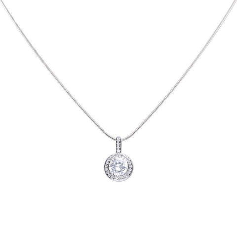Cubic zirconia round halo cluster pendant and chain in silver
