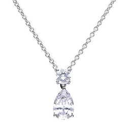 Cubic zirconia pear and round drop pendant and chain in silver