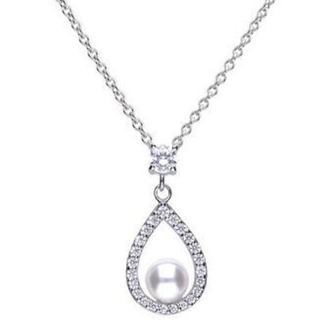 Simulated pearl and cubic zirconia drop pendant and chain in silver