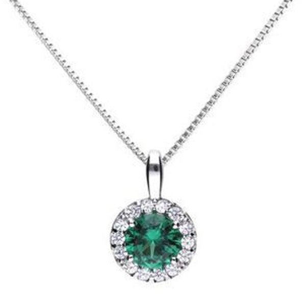 Green cubic zirconia halo pendant and chain in silver