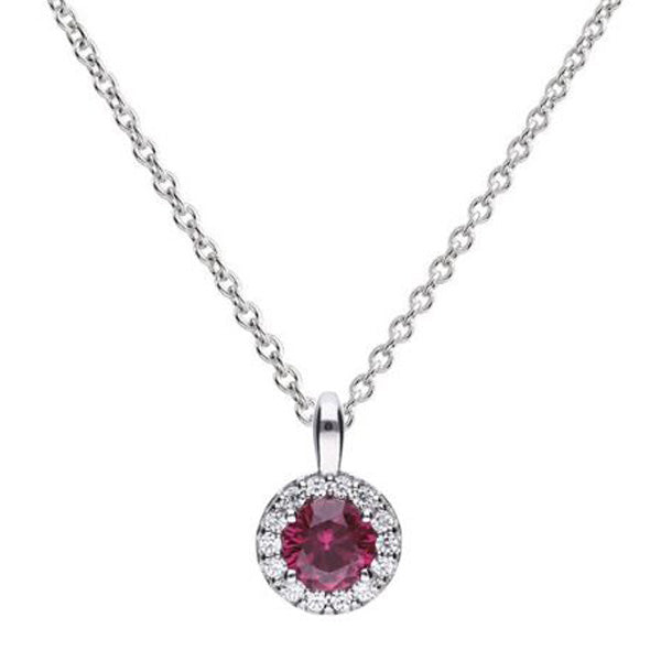 Red cubic zirconia halo cluster pendant and chain in silver