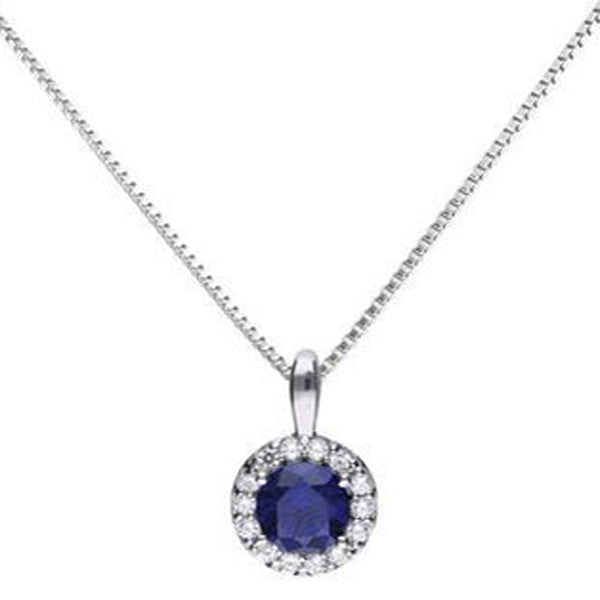 Blue cubic zirconia halo pendant and chain in silver