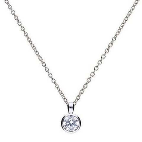 Cubic zirconia rubover set solitaire pendant and chain in silver