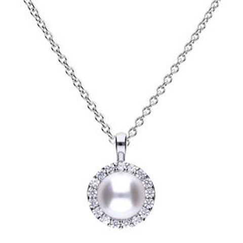 Simulated pearl and cubic zirconia halo cluster pendant and chain