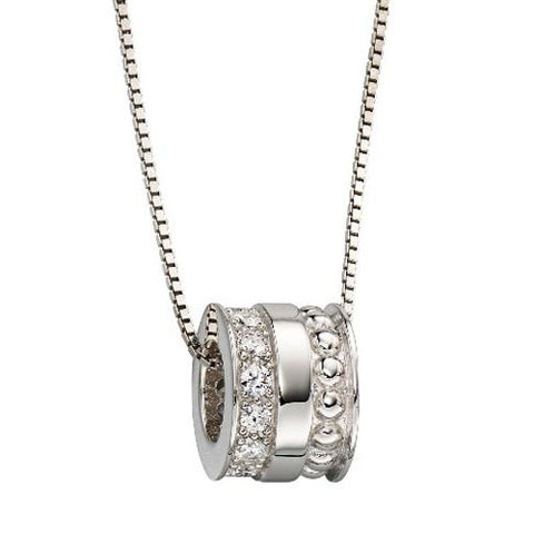 Cubic zirconia bead pendant and chain in silver