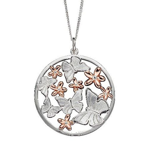 Butterfly and flower pendant and chain in silver