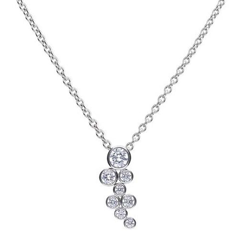 Cubic zirconia bubble pendant and chain in silver