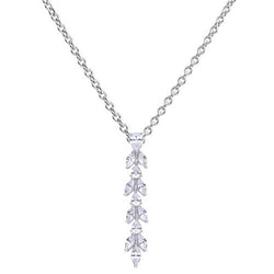 Leaf design cubic zirconia pendant and chain in silver
