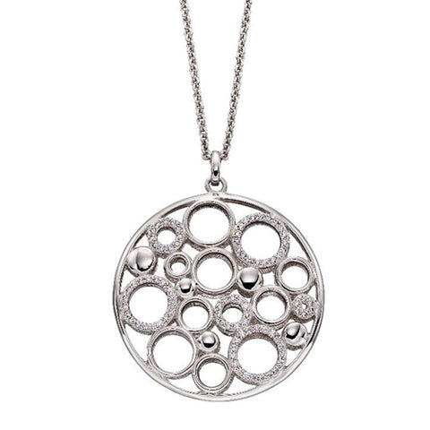 Cubic zirconia circles pendant and chain in silver with gold plating