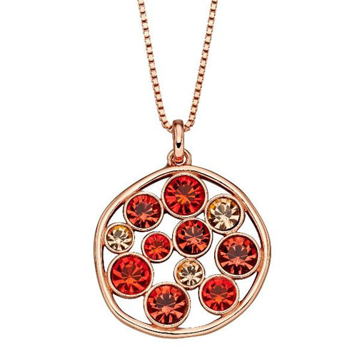 Multicolour crystal circle pendant and chain in silver with rose gold plating
