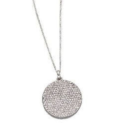 Cubic zirconia round locket and chain in silver