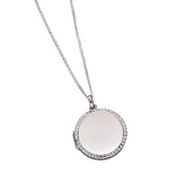 Diamond cut detail round locket in silver
