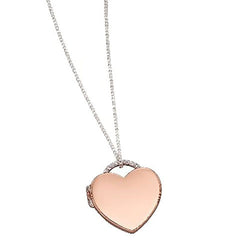 Cubic zirconia heart locket and chain in silver with rose gold plating