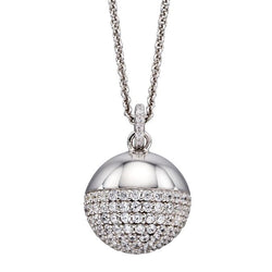 Cubic zirconia ball pendant and chain in silver