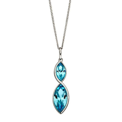 Aqua crystal marquise shape pendant and chain in silver