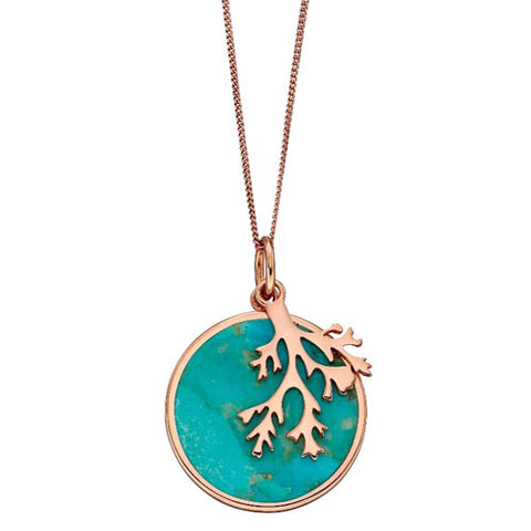 Coral design stabilised turquoise pendant and chain in silver with rose gold plating