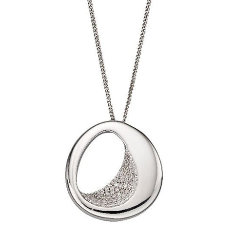 Cubic zirconia open oval pendant and chain in silver