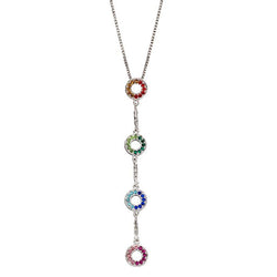 Rainbow crystal circle drop pendant and chain in silver
