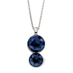 Blue crystal two-stone pendant and chain in silver