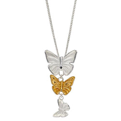 Triple butterfly drop pendant and chain in silver with gold plating