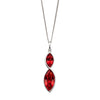Red crystal drop pendant in silver