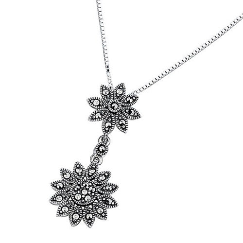 Marcasite daisy drop pendant and chain in silver
