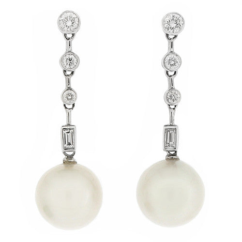 Cultured pearl and diamond drop earrings in 18ct white gold