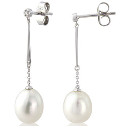 Earrings - Freshwater pearl and diamond earrings in 9ct white gold  - PA Jewellery