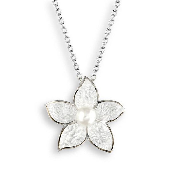 Neckwear - Stephanotis pendant and chain with freshwater pearl and enamel in silver  - PA Jewellery