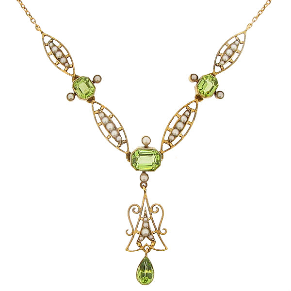 Edwardian peridot and seed pearl necklace in 15ct gold