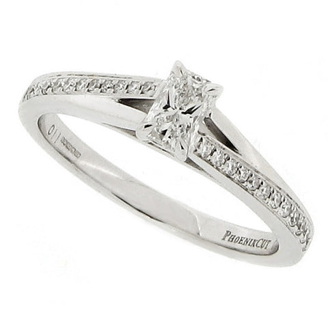 Rings - Phoenix cut diamond solitaire with diamond set shoulders in 18ct white gold, 0.33ct  - PA Jewellery