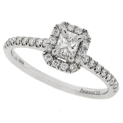Rings - Phoenix cut diamond halo cluster ring in platinum, 0.40ct  - PA Jewellery