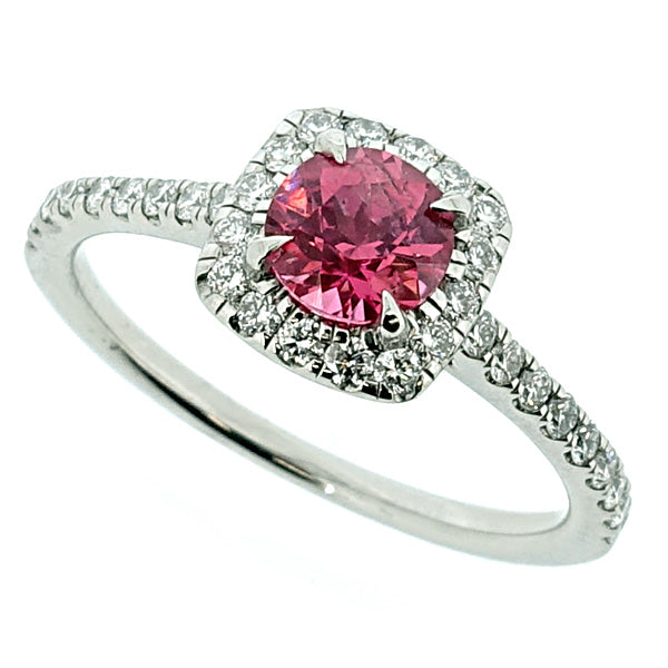 Pink spinel and diamond halo cluster ring in platinum