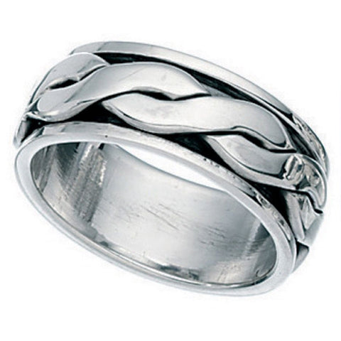 Twist detail spinner ring in silver