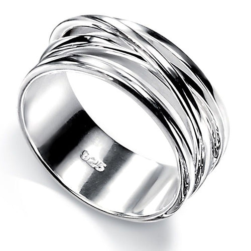 Multi-band crossover ring in silver
