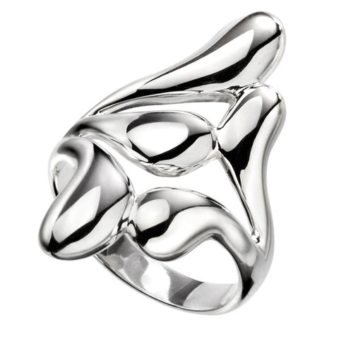 Polished 'raindrop' dress ring in silver