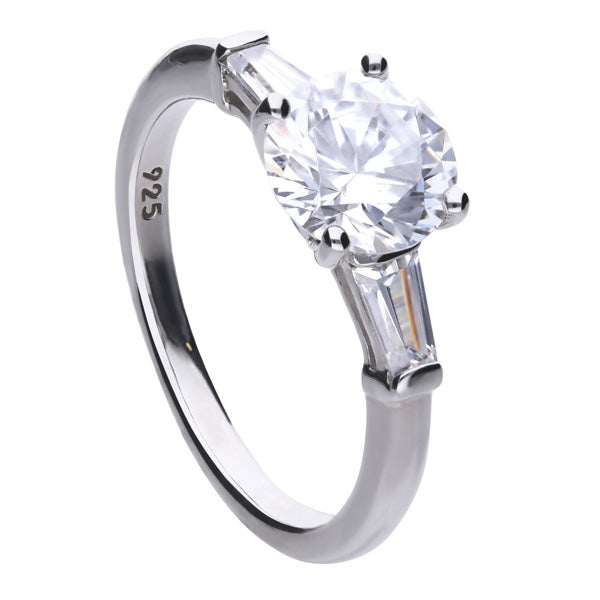 Cubic zirconia round and baguette cut three stone ring in silver