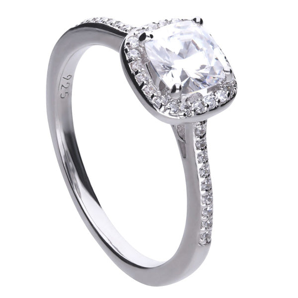 Cubic zirconia cushion shape halo cluster ring in silver