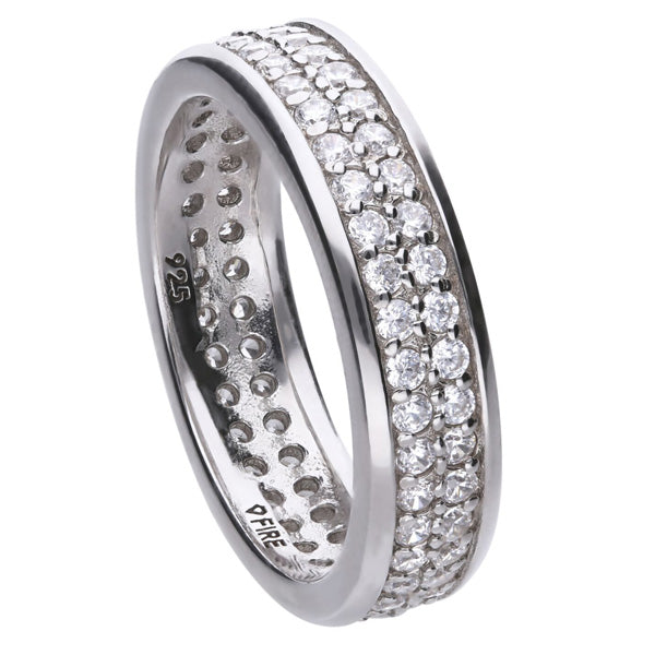 Cubic zirconia double row full band in silver