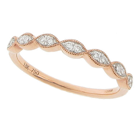 Rings - Diamond set marquise shape half eternity band in 18ct rose gold, 0.14ct  - PA Jewellery