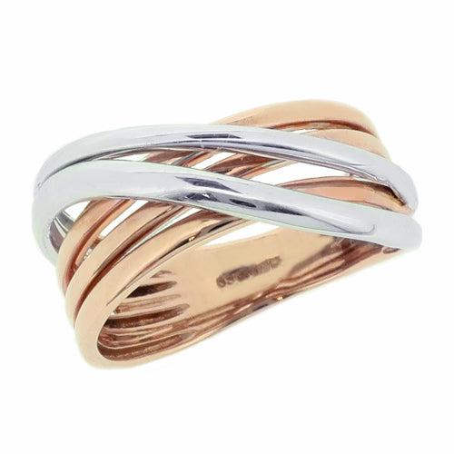 Multi-band crossover ring in 9ct rose and white gold