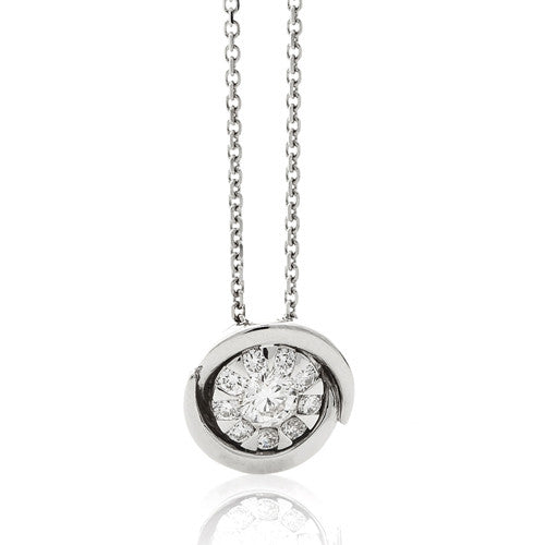 Neckwear - Bouquet diamond cluster pendant and chain in 18ct white gold, 0.16ct  - PA Jewellery