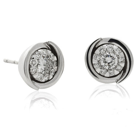 Earrings - Bouquet diamond cluster stud earrings in 18ct white gold. 0.33ct  - PA Jewellery