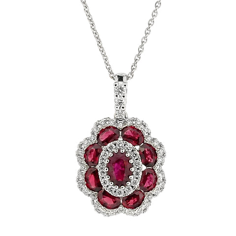 Ruby and diamond cluster pendant and chain in 18ct white gold