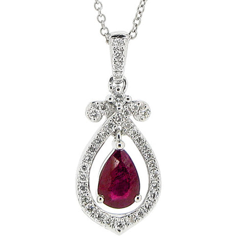 Neckwear - Ruby and diamond 'bow' pendant in 18ct white gold  - PA Jewellery