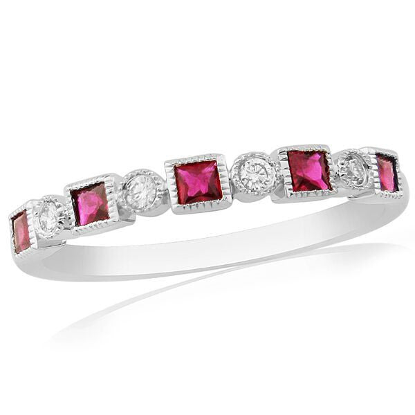 Rings - Ruby and diamond half eternity ring in 18ct white gold  - PA Jewellery