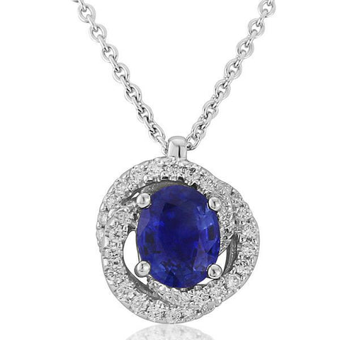 Neckwear - Sapphire and diamond knot pendant and chain in 18ct white gold  - PA Jewellery